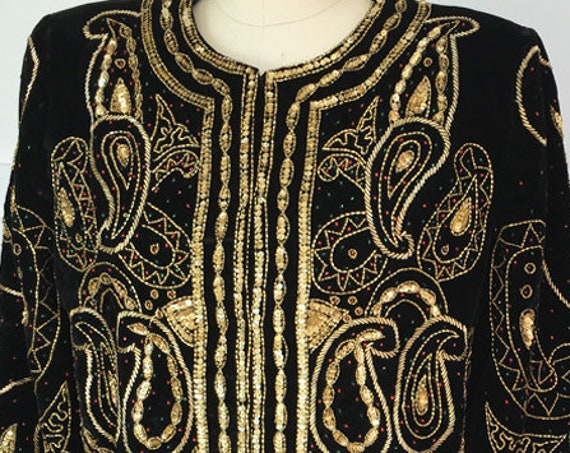 Laurence Kazar Black and Gold Sequined and Beaded Paisley 1990s Velvet Cocktail Jacket NWTs!--Size M  (10041CL)