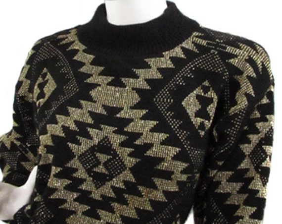 Alicia Black & Gold Lurex Geometric Pattern Mock Turtleneck 1980s Sweater Plus Size (SKU 10017CL)