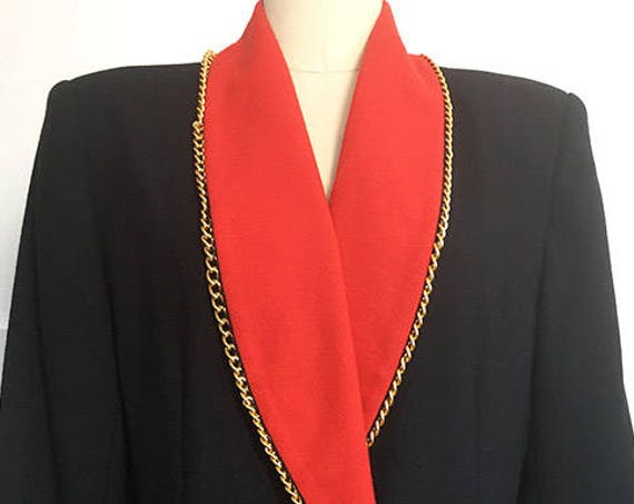 Lillie Rubin Exclusive Red and Black 1980s Blazer Jacket with Goldtone Chains Size 10  (SKU 10568CL)