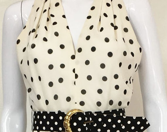 Super Sweet White and Black 1990s Polka Dot A.J. Bari Halter look Dress with Flutter Skirt  (SKU 10215CL)