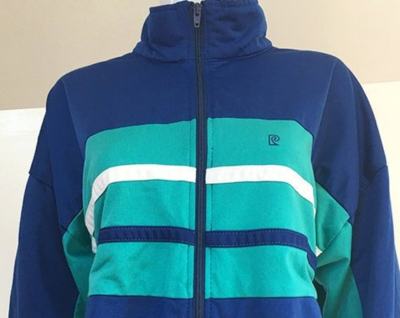 Pierre Cardin Vibrant Blue and Turquoise 1970s Warm-up Track Jacket Athleisure Men's Large / Wmns PLUS  (SKU 10549CL)