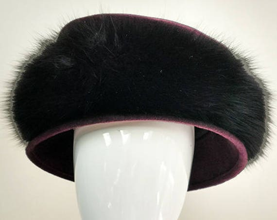 Phillip Treacy for Neiman Marcus 100% Rabbit Hair Chic 1990s Eggplant and Black Hat (SKU 10301AC)