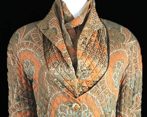 Carolyne Roehm for Saks Fifth Avenue RARE 1980s Paisley Silk Gown and Jacket US Size US 8  (10751CL)