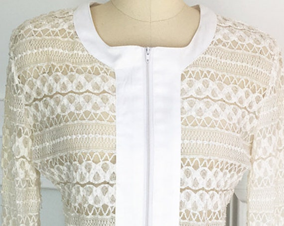 Boho Vintage White Beaded Lace Sheer 1980s Blouse with Long Sheer Sleeves White Satin Cuffs and Front Placket  (SKU 10060CL)