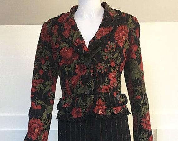 Designer Escada Pantsuit Rose Cherries Pinstripes and Ruffles (SKU 10536CL)