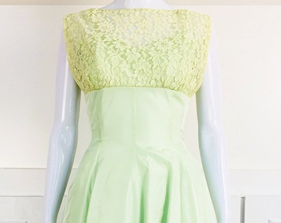 Harzfeld's Kansas City 1950's Pale Green Formal Fit and Flare Dress with Lace and Bow (SKU 10642CL)