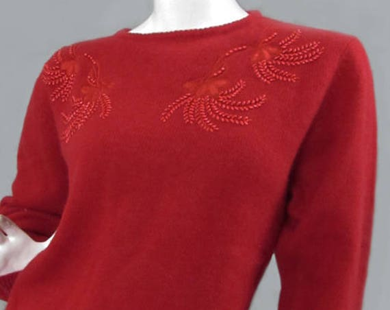 Carr and Westley Red Poppy Lambswool & Angora 1980s Sweater with Beaded Floral Accents  Plus Size (SKU 10020CL)