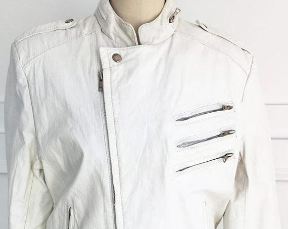 Chess King White Leather 1980s Moto Jacket with Zip-out Faux Fur Lining Size FR 40  (SKU 10061CL)