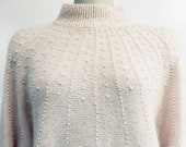 Premier Moda Blush Pink Angora and Silk Blend 1980s Fuzzy Sweater with Pearl Beading US Size Large (SKU 10591CL)