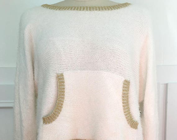 Juicy Couture for Kohl's Soft Fuzzy Ivory and Gold Sweater Size Medium (SKU 10478CL)