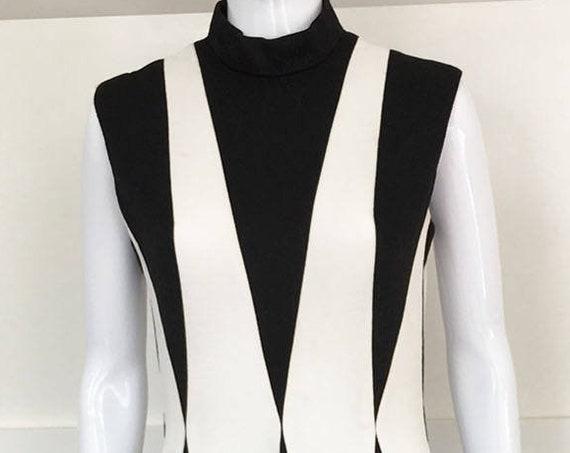 Mary Dobbs MOD 1960s / 1970s Black & White Harlequin Gown US Size 11 / 12  (SKU 10252)
