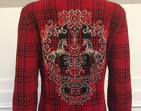 """Escada Luxe Fabulous """"E"""" Logo Gold Red & Black 1990s Wool Knit Blazer / Cardigan Size EU 36  (SKU 10571CL)"""