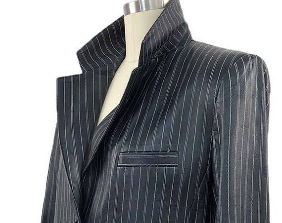 Luscious Leather Mid-1990s Italian Made Armani Collezioni Pinstriped Blazer/Jacket—Size US 12/IT 48 PLUS  (Sku 10759CL)