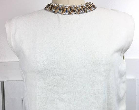 Sleeveless Ivory Beautifully Embellished 1950s / 1960s Beaded Knit Shell (SKU 10607CL)