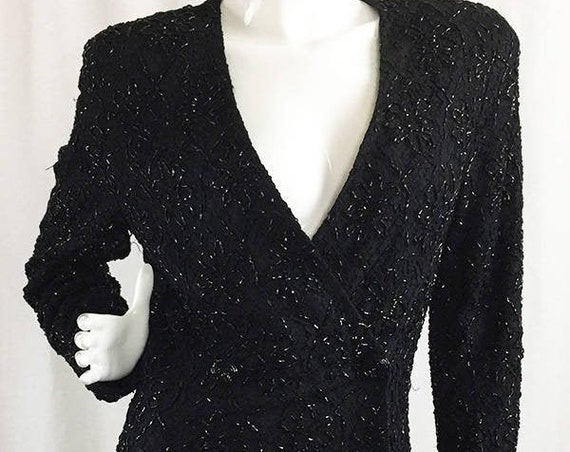 Carmen Marc Valvo Slinky Sexy Fitted Black Double Breasted Heavily Beaded Lace Jacket / Dress Size 10  (SKU 10040CL)