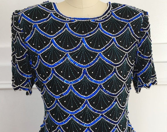 Laurence Kazar Black Silk 1980s Cocktail Top Hand Beaded Blue Sequins Green Beads & Faux Pearls and Scalloped Hem Size Large  (SKU 10042CL)