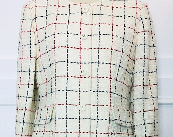 Emanuel Ungaro Collection White Red and Blue 1980s Skirt Suit Amazing!--FR 44  (SKU 10044CL)