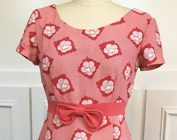 1940's -look Evisu Reddish-Coral Dress with White Pattern  (SKU 10066CL)