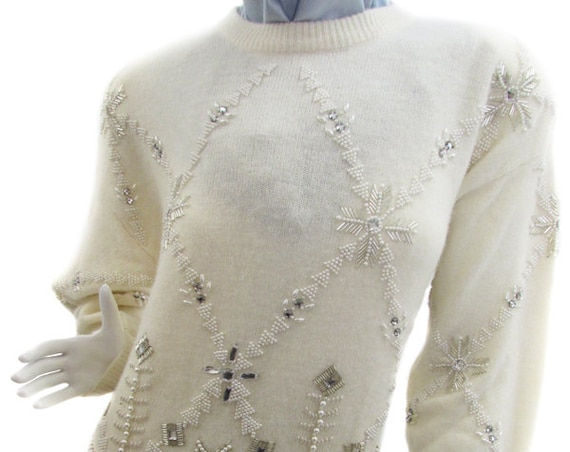 Marisa Christina White Lambswool and Angora Sweater with Rhinestone and Beaded Snowflake Design US Size Medium (SKU 10013CL)