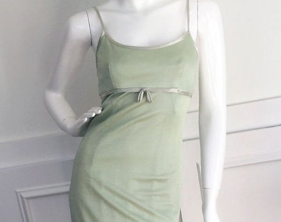Sparkling Pistachio Green 1970s Empire Waist and Spaghetti Strap Evening Gown by Dave & Johnny Size 4  (SKU 10087CL)