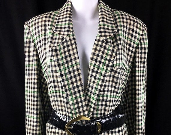 Emanuel Emanuel Ungaro 1990s (Pre-1994) Forest Green Black and Ivory Plaid Boyfriend Blazer Like New! PLUS SIZE  (SKU 10423CL)