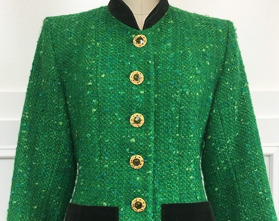 Yves Saint Laurent Rive Gauche Vintage Kelly Green and Olive Blazer  (SKU 10359CL)