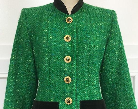 Yves Saint Laurent Rive Gauche Vintage Kelly Green and Olive Blazer  (SKU 10359CL)