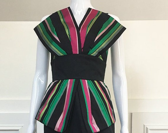 Victor Costa Gown Black Pink Green Striped Gown (SKU 10432CL)