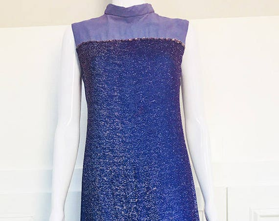 MOD VIntage 19790s Sleeveless Mock Neck Purple Lurex A-Line Sparkling Gown  (SKU 10562CL)