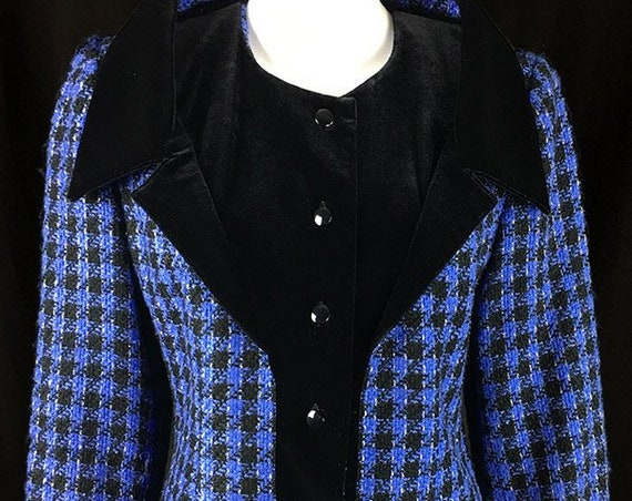 Edgar Vos Luxe Blue Black and Gold Metallic Houndstooth Blazer Size EU 36  (SKU 10422CL)