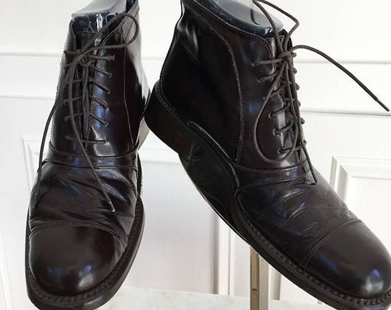 Gorgeous Vintage Italian Made 1990s Brown Leather Ankle Boots With Spectacular Patina!! Sz. 9.5 (SKU 10080SH)