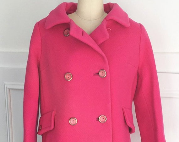 Hot Pink Totally MOD Carnaby Street Double Breasted Wool Winter Coat Plus Size  (SKU 10059CL)