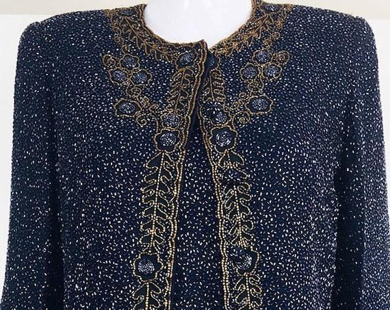 RARE! Emanuel Ungaro Paris Ombre de la Nuit 1990s Midnight Blue and Gold Heavily Beaded Silk Cocktail Dress and Jacket (SKU 10670CL)