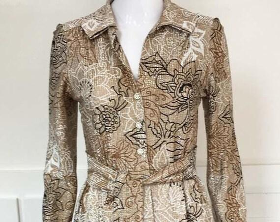 Boho MOD 1960s Floral Lurex Hostess Gown Size 10  (SKU 10257CL)