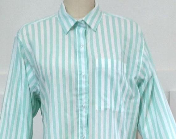 Diane Von Furstenberg Turquoise and White Striped 1980s Shirt Size 16 / PLUS (SKU 10386CL)