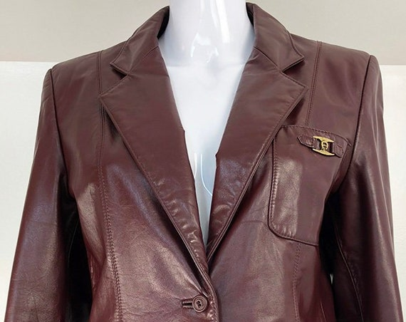 Etienne Aigner Pristine 1970s Oxblood Leather Jacket With Great Logo Details! US Size 8  (SKU 10735CL)