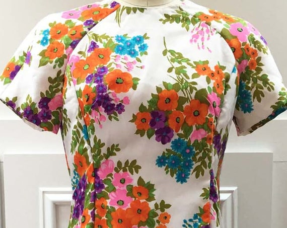 MOD 1970s Floral Fit & Flare Dress Like New Condition!  (SKU 10246CL)