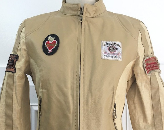 Wilson's Leather and Linen 1980s / 1990s Moto Jacket with Decorative Patches US Size Small (SKU 10682CL)