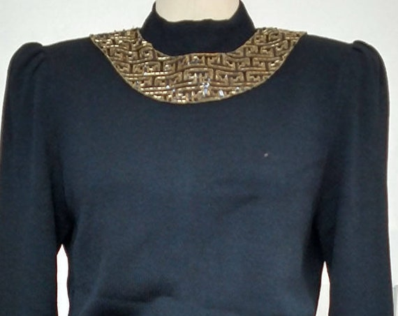 Gold Beaded and Black Knit St. John Knit by Marie Gray Dress Late 1970s / Early 1980s US Size 10  (SKU 10343CL)