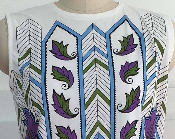 MOD Op POP Art White Purple and Green 1970s Sleeveless Top Size Medium  (SKU 10374CL)