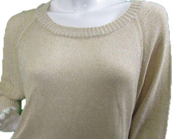 Joseph A. Silk and Linen Blend 1990s Gold Sparkly Lightweight Pullover Sweater Size Medium (SKU 10014CL)