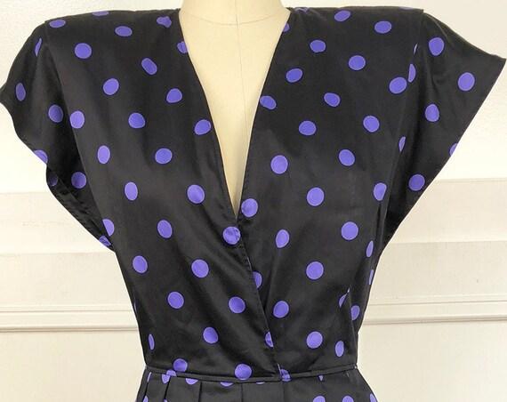 Emanuel Ungaro Parallele Paris 1980s does 1940s Adorable Purple Polka Dot Dress  US Size 8  (10730CL)