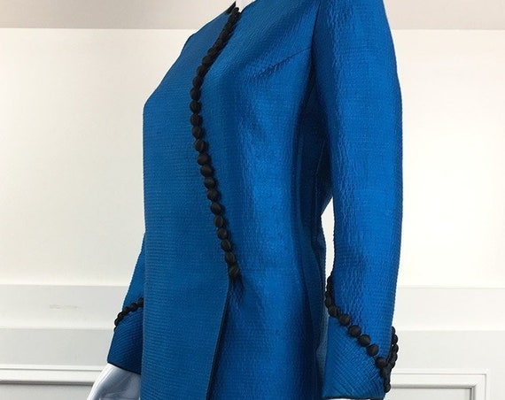 Mary McFadden Couture Brilliant Blue Silk Asian Style 1980s Quilted Silk Evening Coat Jacket Duster (SKU 10711CL)