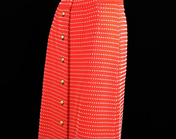 Vintage 1960's David Crystal Fashion Nautical Look Red Maxi Skirt with White Dots and Gold Buttons US Size 16 (SKU 10752CL)