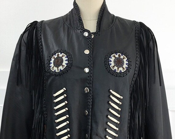 Hot Leathers Black Leather Motorcycle Jacket With Fringe Bone and Beaded Details—Size US XL  (SKU 10686CL)