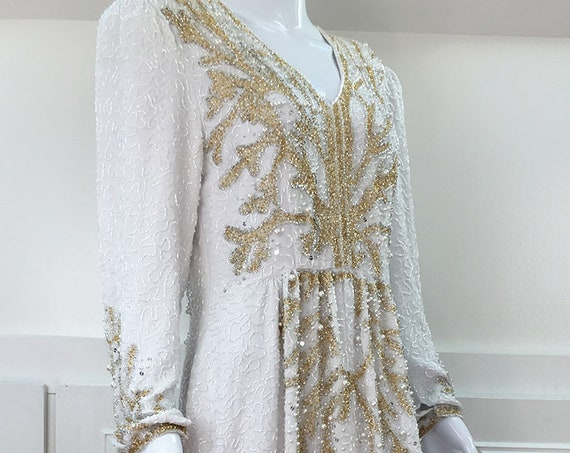 Vintage Jack Bryan White Silk and Gold Beaded Wedding / Evening / Formal Gown Plus Size (SKU