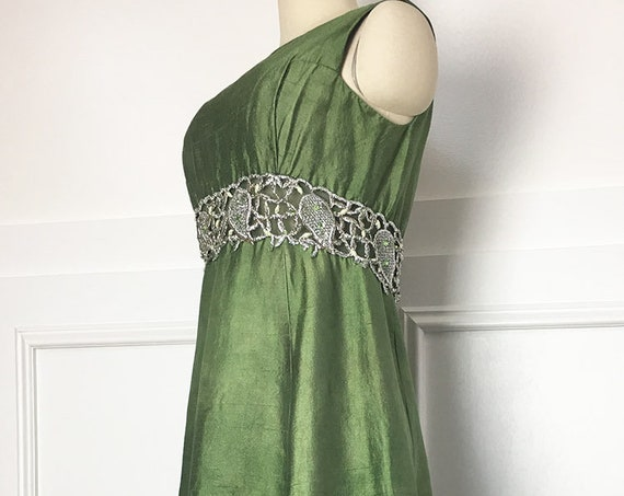 Gino Charles for Miss Bergdorf Vintage 1960s Green Silk Gown w/ Extraordinary Silver Rhinestone and Sequin Detail (SKU 10593CL)