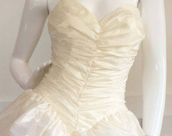Zum Zum White Flouncy 1980s Drop Waist Ruched Gown with Tiny Golden Polka Dots Size US 9 (SKU 10099CL)