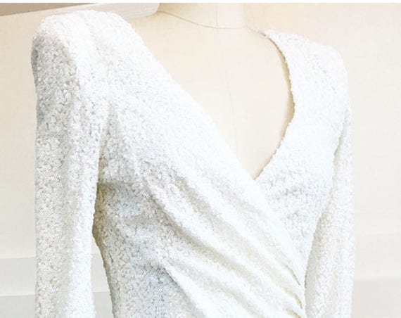 Armani Exchange White Faux Wrap Heavily Beaded Cocktail Dress NWTs!--Sz. US 6 / UK 10  (SKU 10067CL)