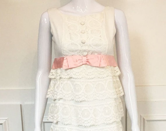White Eyelet Waterfall Ruffled 1970s Vintage Empire Waist Gown with Pink Ribbon and Bow  (SKU 10229CL)